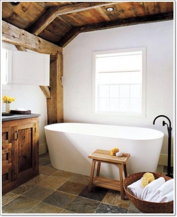 Оформление ванной комнаты в рустикальном стиле - это то, что вам определенно понравится.