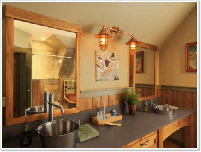 Отличный вариант оформить ванную комнату в теплых и светлых тонах, что создаст волшебную и простую обстановку.