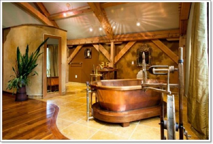 Симпатичный вариант оформления большой ванной комнаты в дереве с необыкновенной обстановкой.