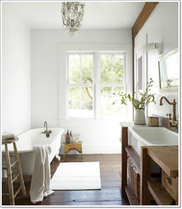 Красивые рустикальный стиль ванной комнаты, который станет просто отличным при помощи своего белоснежного колорита.