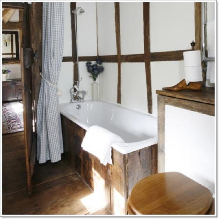 Самое лучшее дизайнерское решение для оформления ванной комнаты в рустикальном стиле - просто и круто одновременно.