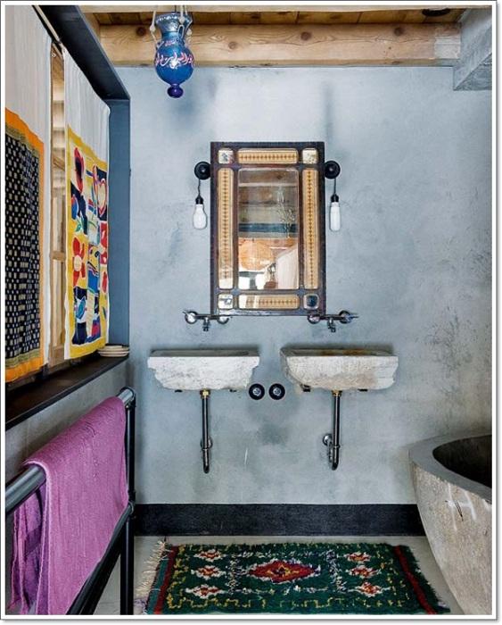 Нотки рустикального стиля в котором оформлена ванная комната станет просто оригинальным и оптимальным вариантом