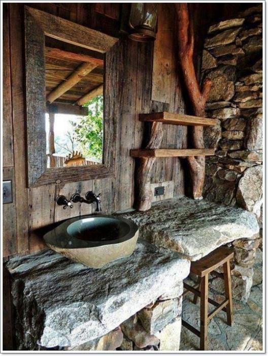 Необычная деревянная ванная комната в рустикальном стиле станет просто оригинальным и практичным вариантом оформления такого типа комнаты.