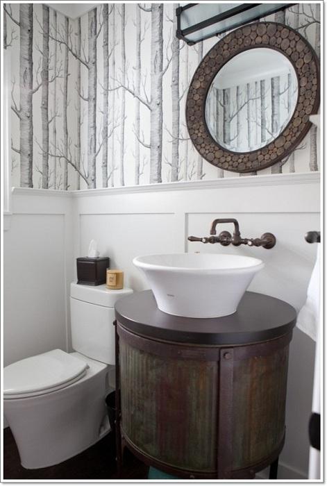 Нестандартная ванная комната, которая оформлена в оригинальном рустикальном стиле порадует глаз.