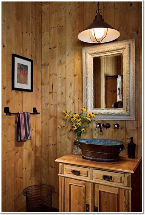 Хороший вариант оформить ванную комнату в дереве, то что создаст легкую и просто отличную обстановку.