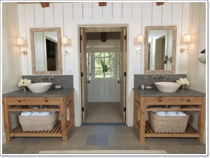 Простая и хорошая отделка ванной комнаты в рустикальном стиле станет самой простой и одновременно большой находкой.