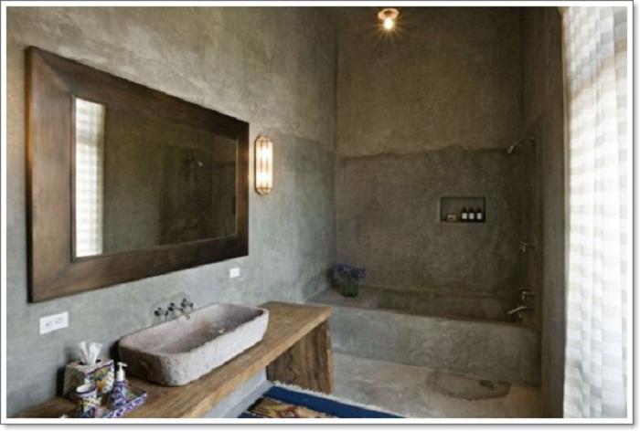 Прекрасный вариант оформления ванной комнаты, который частично похож на промышленный стиль.