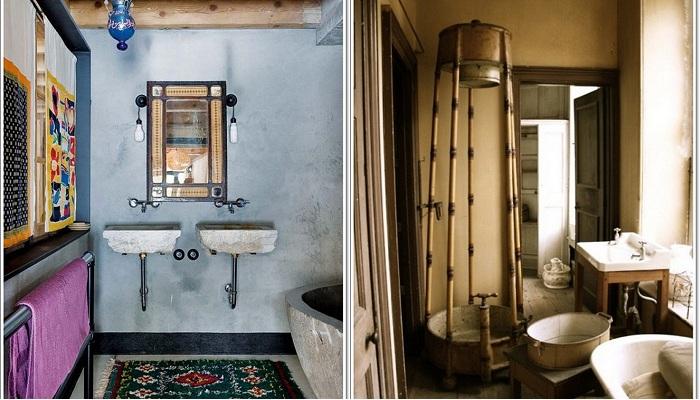 Рустикальный стиль в оформлении ванной комнаты.