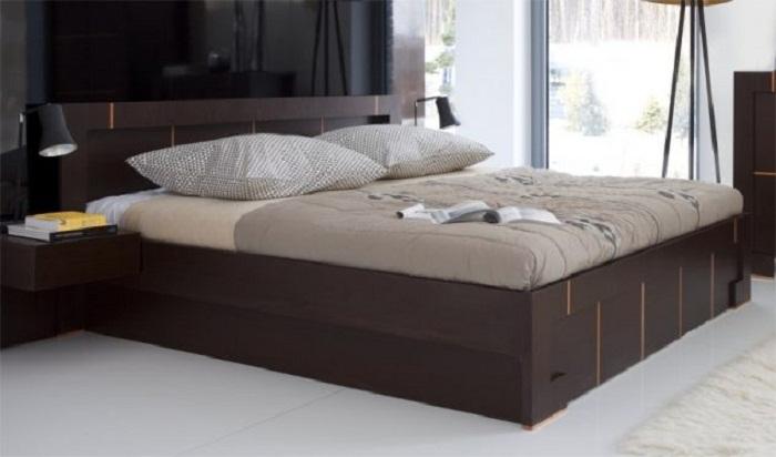 Стильное и прекрасное решение для декорирования спальной в темно-шоколадных тонах.