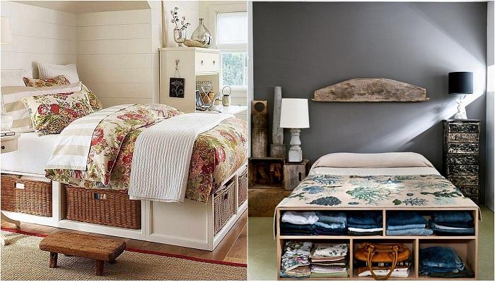 Удачные варианты хранения вещей под кроватью.