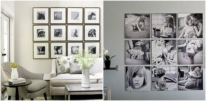 Квадратные монохромные фото прекрасно смотрятся в любом интерьере.