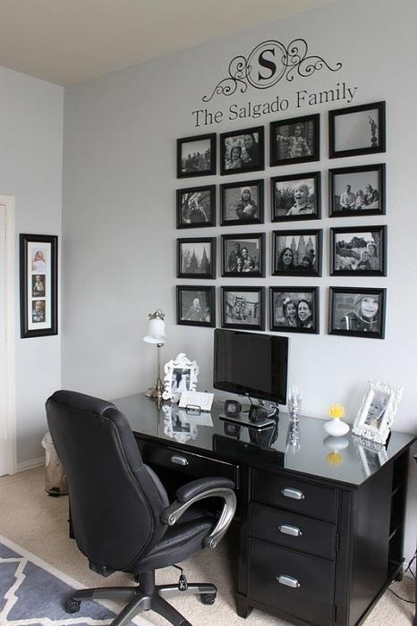 Фотогалерея в рабочем кабинете - прекрасная возможность погрузиться в приятные воспоминания в минуты отдыха.