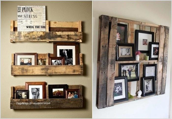 Неожиданное дизайнерское решение: полки из старых ящиков для семейных фото.