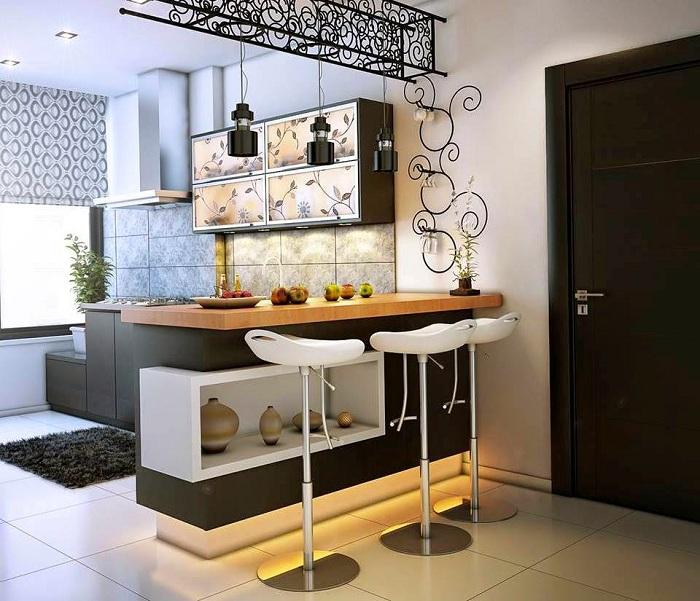 Оригинальное решение на кухне отвести зону под барную стойку.
