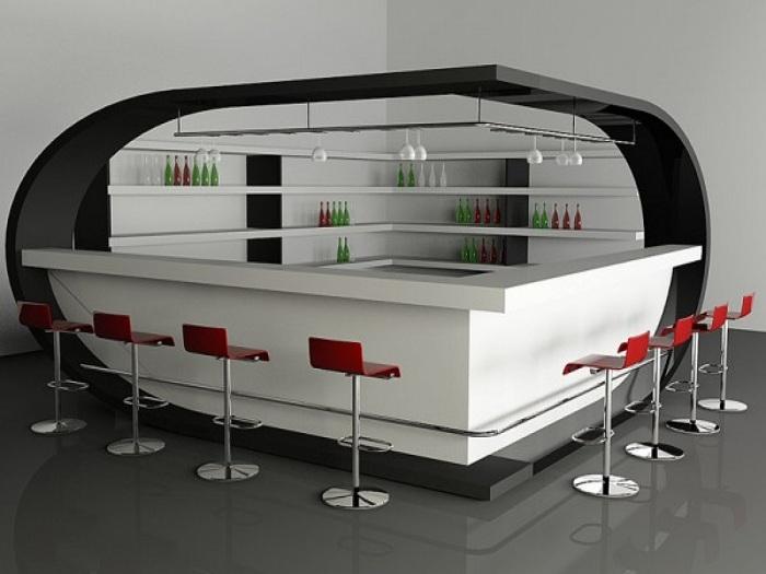 Оригинальный домашний бар в футуристическом стиле.