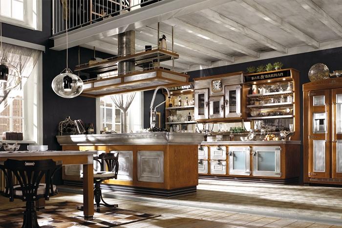 Простой дизайн бара, который комфортно разместился под лестницей.