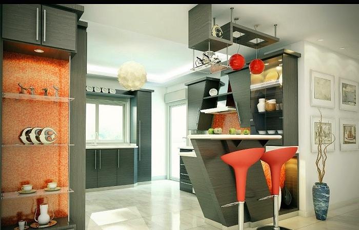 Удивительный интерьер кухни с барной стойкой.
