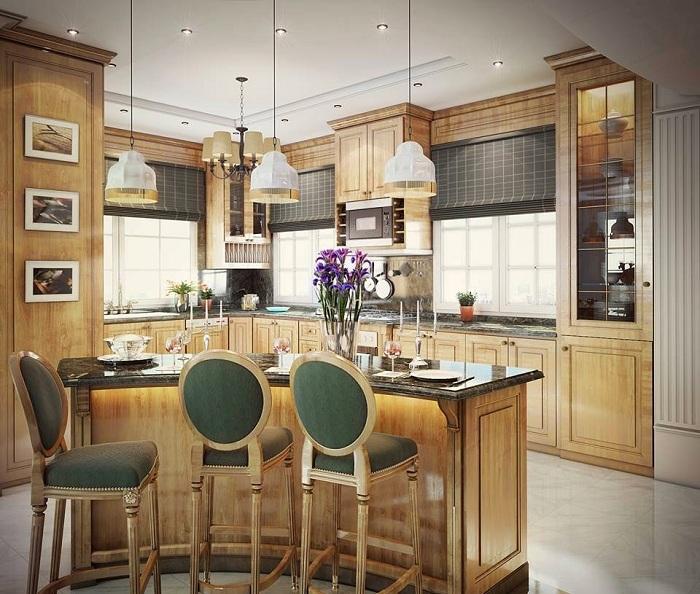 Симпатичное дизайнерское решение создать бар на кухне.
