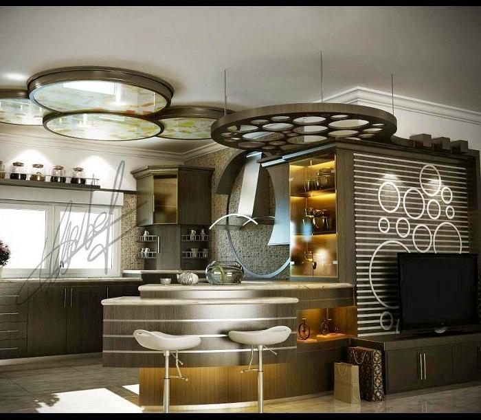 Современный очаровательный интерьер кухни украшен оригинальной барной стойкой.
