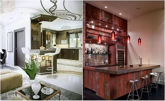 Примеры оформления домашних баров.