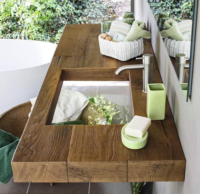 Красивое оформление умывальника, создаст отличную обстановку в комнате для принятия водных процедур.