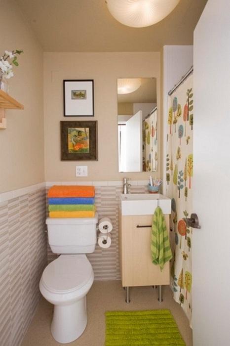 Хороший вариант оптимально использовать полезной площади в крошечной ванной комнате.