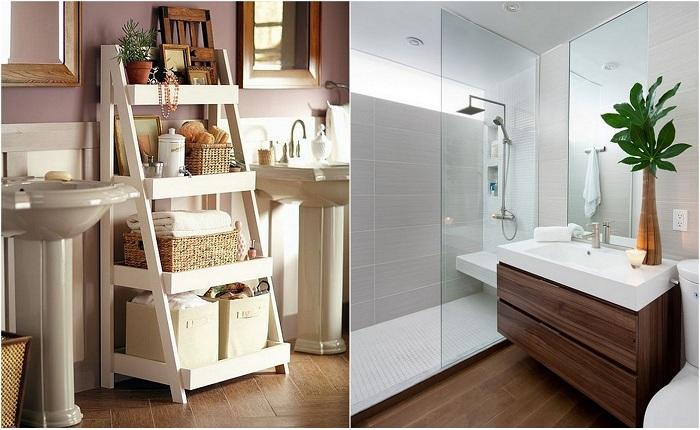 Примеры оформления крохотных ванн комнат.
