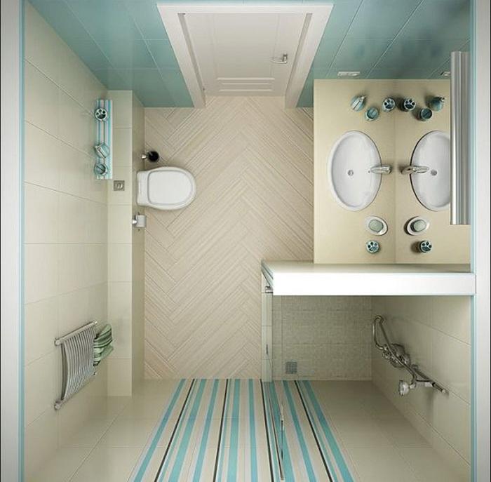 Светлые тона позволят зрительно расширить пространство в ванной комнате.