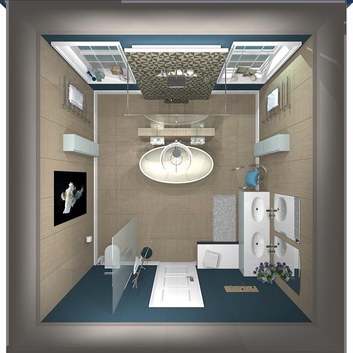 Если разместить в ванной комнате два симметричных окна это позволит расширить её просторы.