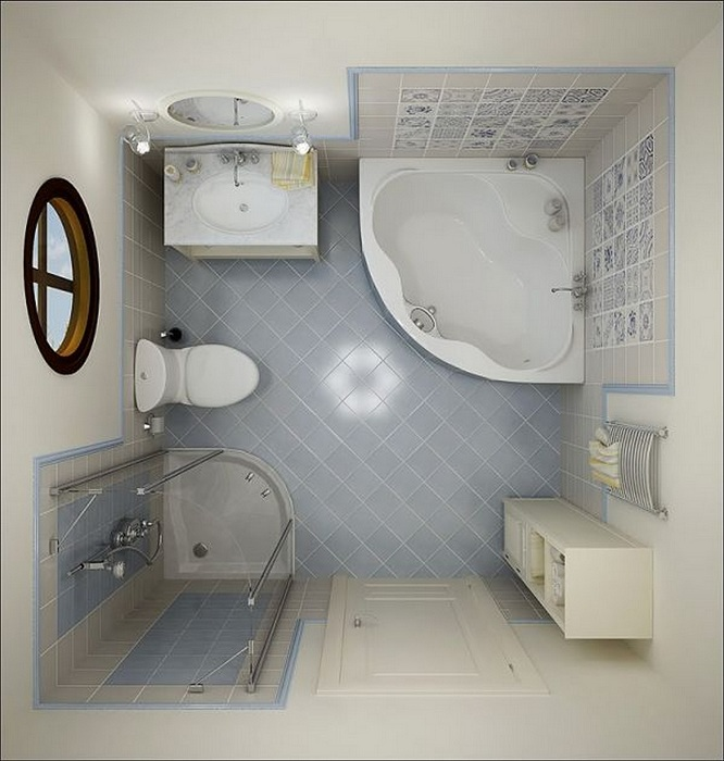 Угловая ванная прекрасно впишется в интерьер небольшой ванной комнаты.