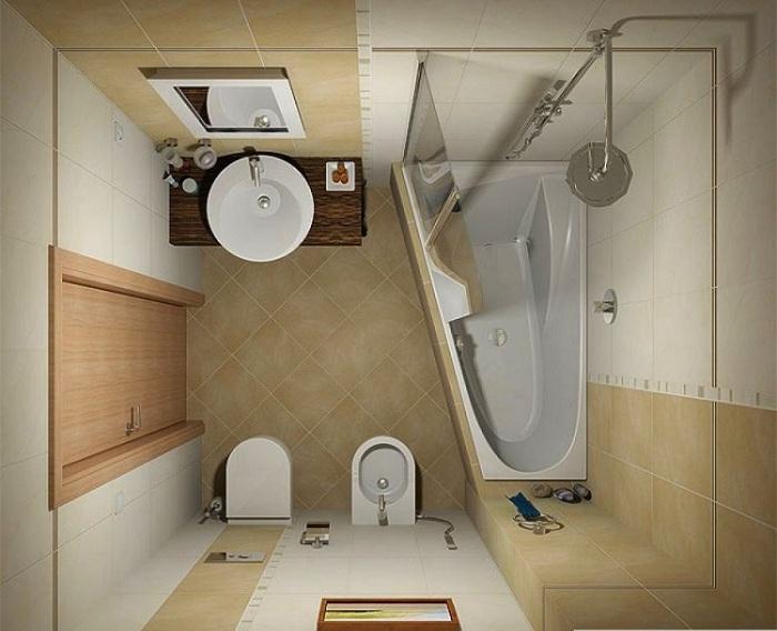 При выборе ванной лучше остановится на треугольной, что намного практичней чем квадратная.