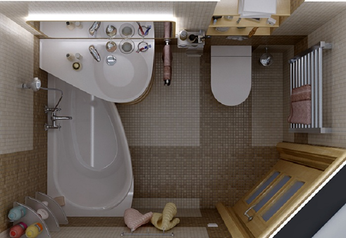 Интерьер крохотной ванной комнаты легко облагородить при помощи треугольной ванной.