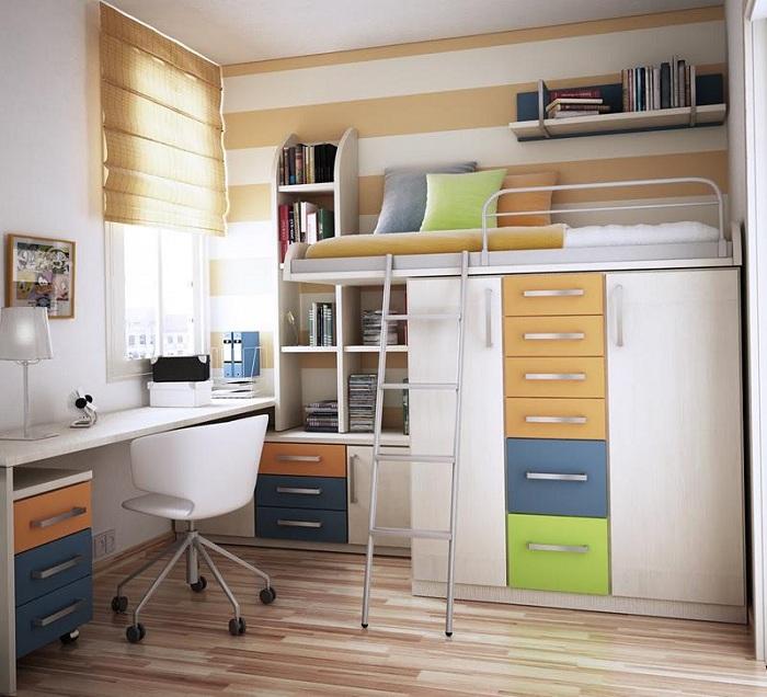 Просто отличный вариант создать интересную обстановку в мини-спальне.