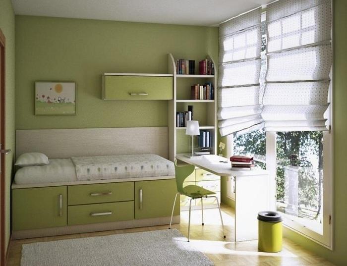Просто отличный вариант оформления мини-спальни в оливковых тонах, что создаст уютную атмосферу.