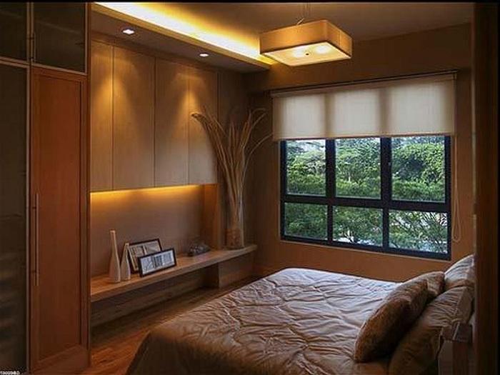 Декорирование мини-спальни в кофейных тонах, станет просто находкой при оформлении комнаты такого типа.