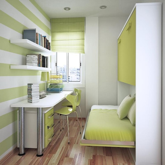 Просто отличное решение создать отличную обстановку в спальне с маленькой площадью в светло-зеленых тонах с белыми элементами.