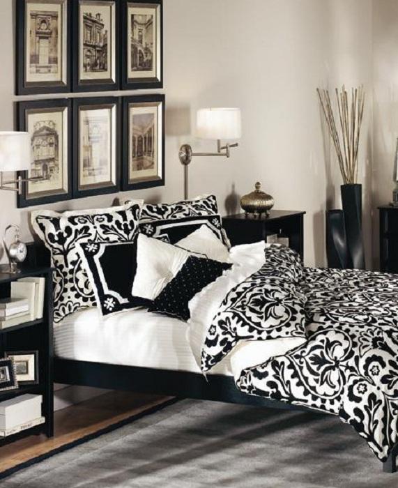 черно-белые тона для спальни в картинках такая