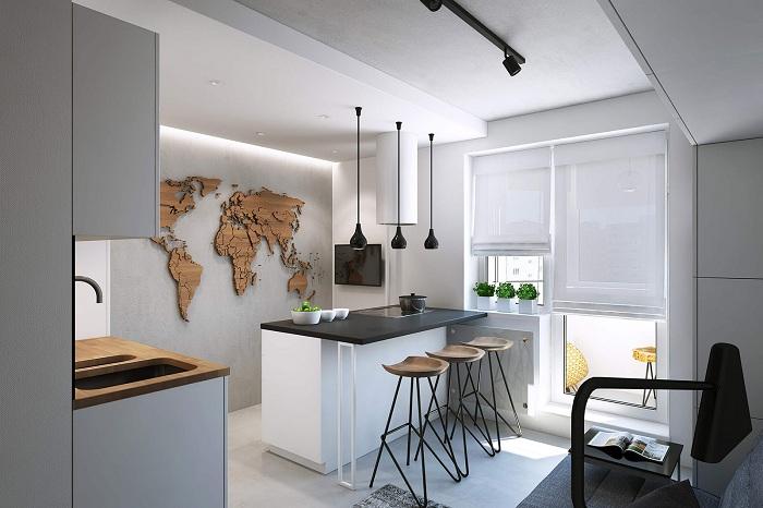 Потрясающий интерьер кухни, что выглядит весьма стильно с помощью применения деревянных текстур и светлых тонов в комбинации.