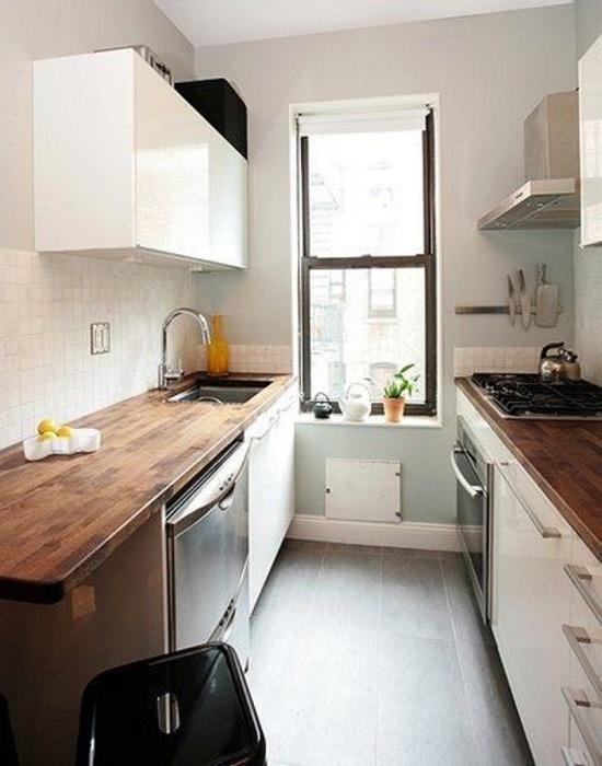 Дизайн маленькой кухни без окна 4 кв.м с холодильником
