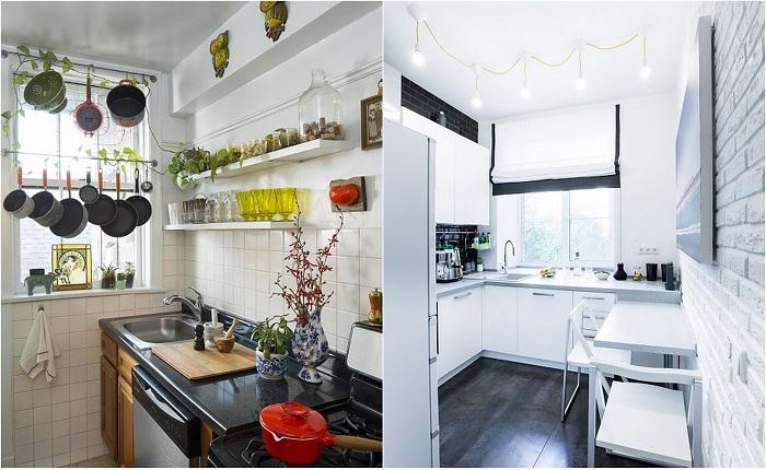Примеры оформления маленьких кухонь.