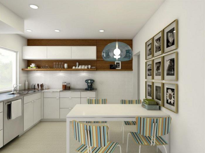 Маленькая кухня оформлена при помощи интересных элементов декора, что создает приятное настроение и заряжает позитивом.