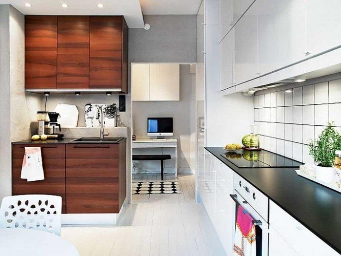 Простое, но симпатичное оформление небольшого кухонного пространства, то что вдохновит.