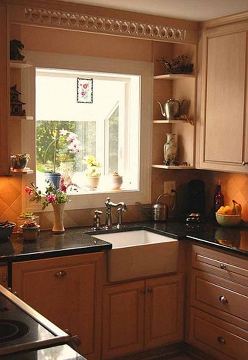 Красивое оформление мини-кухни в кофейном цвете, что станет просто отличным решением для декорирования такой комнаты.