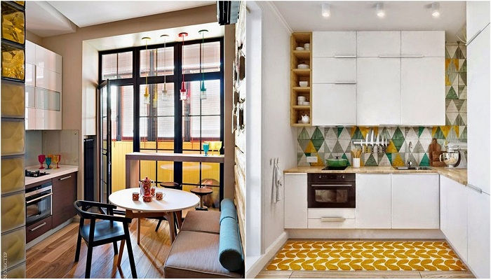 Актуальные примеры оформления маленьких пространств на кухне.