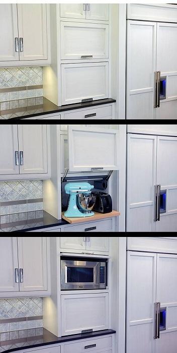 Удачное оформление скрытых пространств, что точно понравится и создаст оригинальную обстановку на кухне.