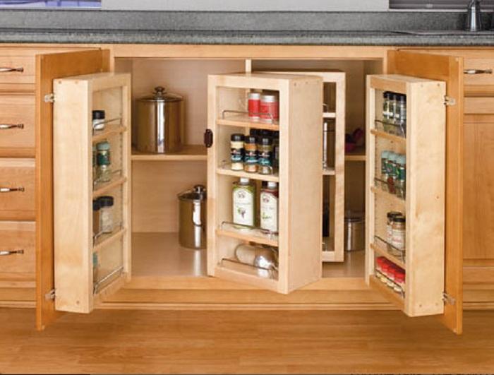 Отменные деревянные ниши в тумбе, что позволят создать хорошую обстановку и сэкономить пространство на кухне.