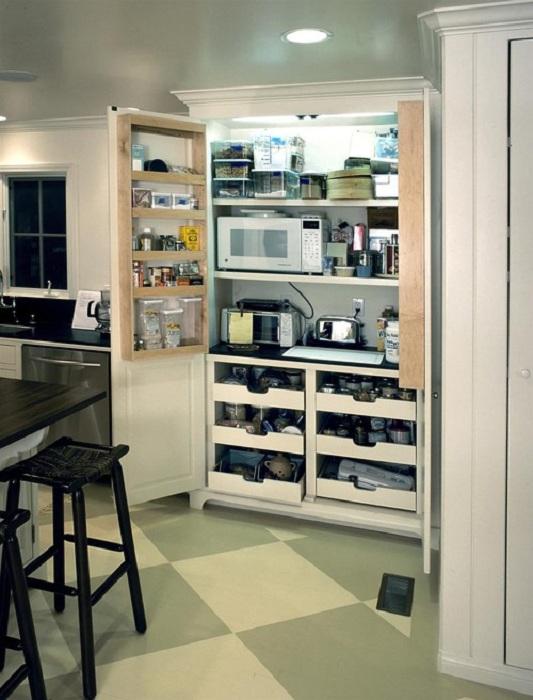 Размещение нужных вещиц на кухне в одном уютном и комфортном месте, что позволит оптимизировать пространство.