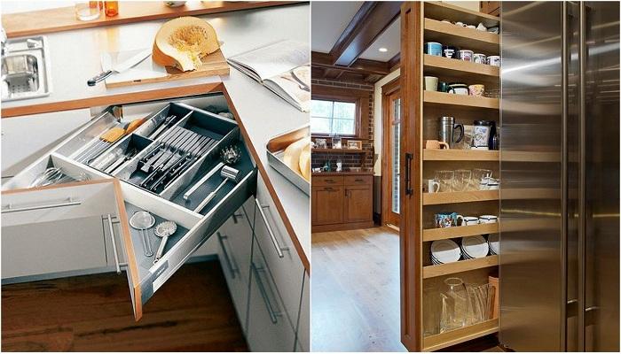Примеры того каким образом организовать пространство на кухне, что позволит облагородить пространство.