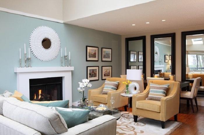 Нежные пастельные тона в гостиной комнате создадут уютную обстановку.
