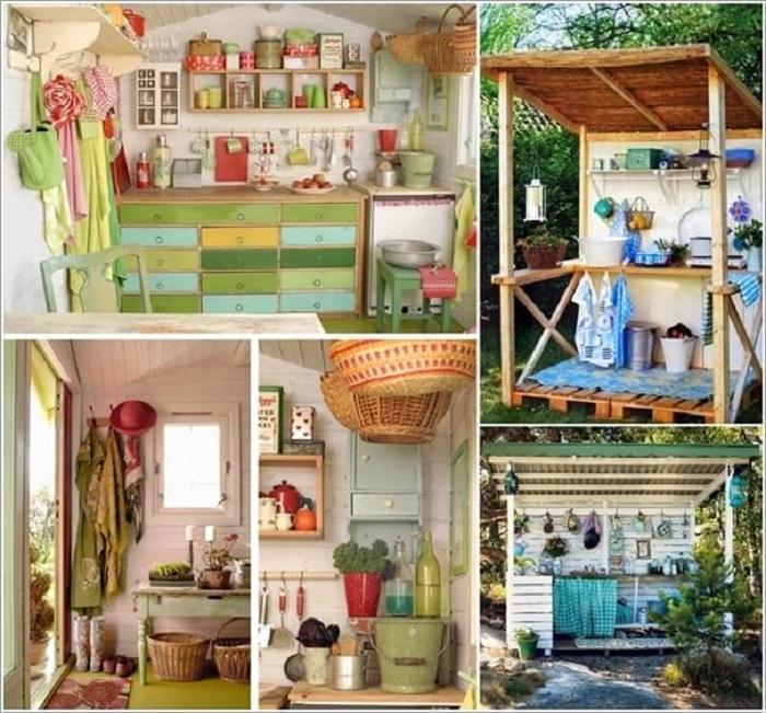 Прекрасный вариант преобразить интерьер летней кухни и создать его в ярких цветах.